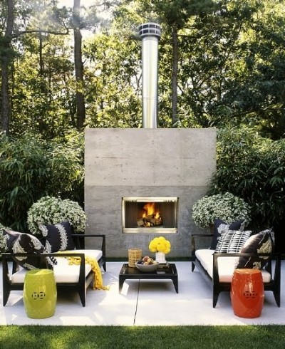 Outdoor Living Rooms on Roger Davies Outdoor Living Room Large Modern Fireplace Black Grey
